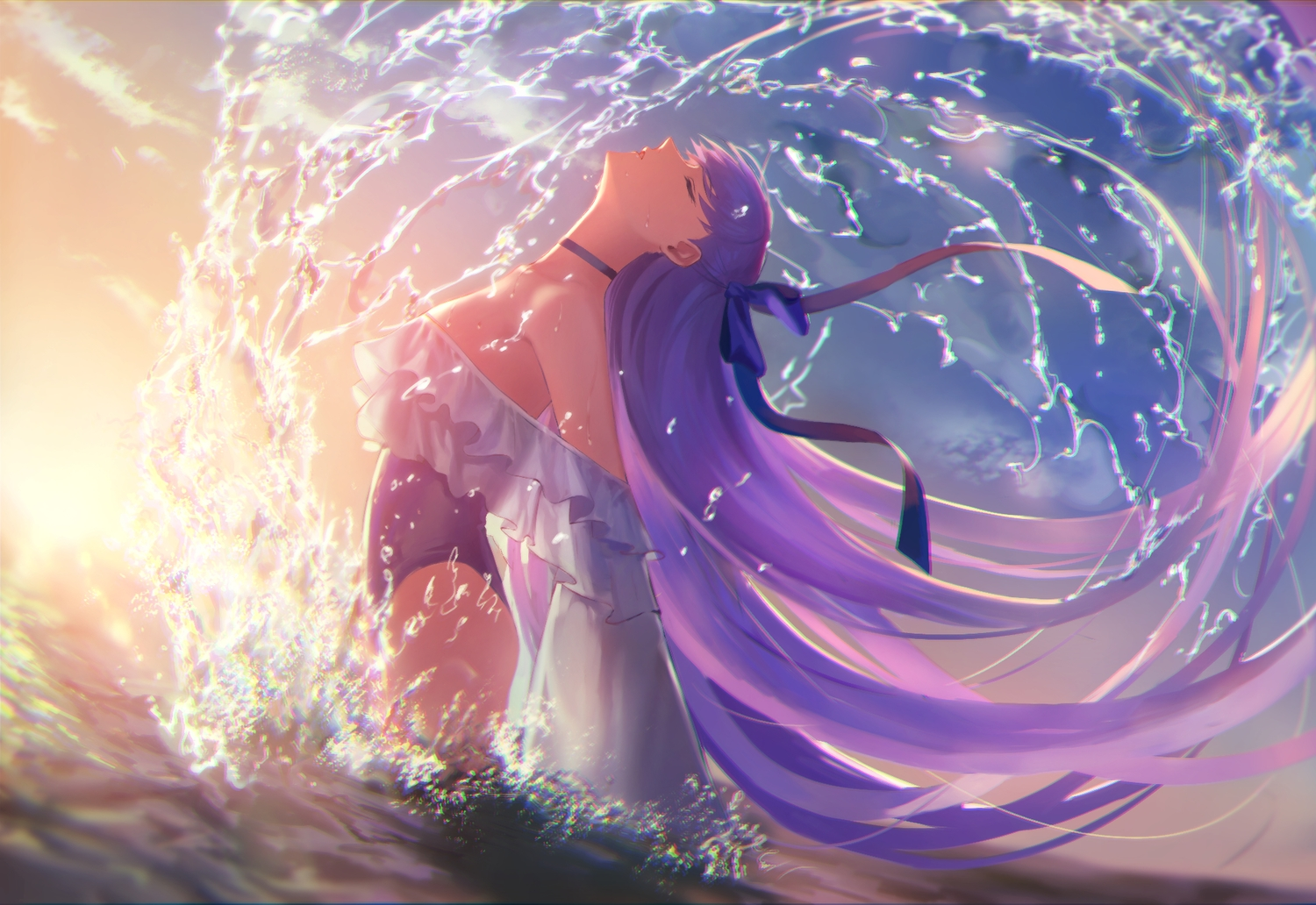 bow choker clouds fate/grand_order fate_(series) long_hair meltryllis purple_hair ribbons sky sunset swimsuit water zonotaida