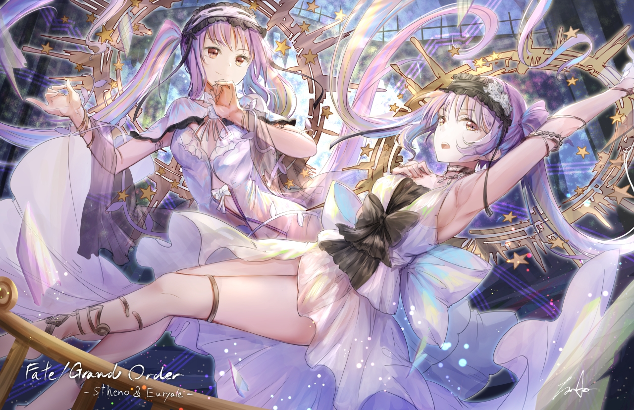 2girls brown_eyes euryale fate/grand_order fate_(series) headdress koroneko_p0w0q long_hair purple_hair signed stheno twintails