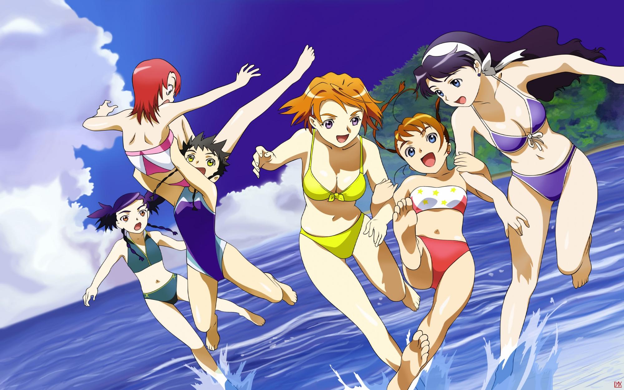 beach bikini black_hair blue_eyes brown_hair clouds headband mai-hime mai-otome minagi_mikoto nina_wang orange_hair purple_hair red_hair rena_sayers sky summer swimsuit tokiha_mai water yumemiya_arika yuuki_nao