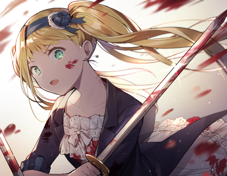 azit_(down) blonde_hair blood close dress elizabeth_middleford gradient green_eyes headband kuroshitsuji sword tears twintails weapon