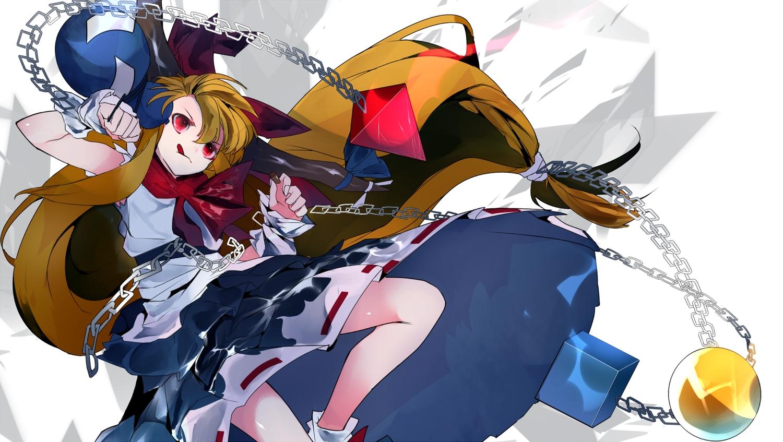 bow brown_hair chain dress horns ibuki_suika ikurauni japanese_clothes long_hair red_eyes touhou