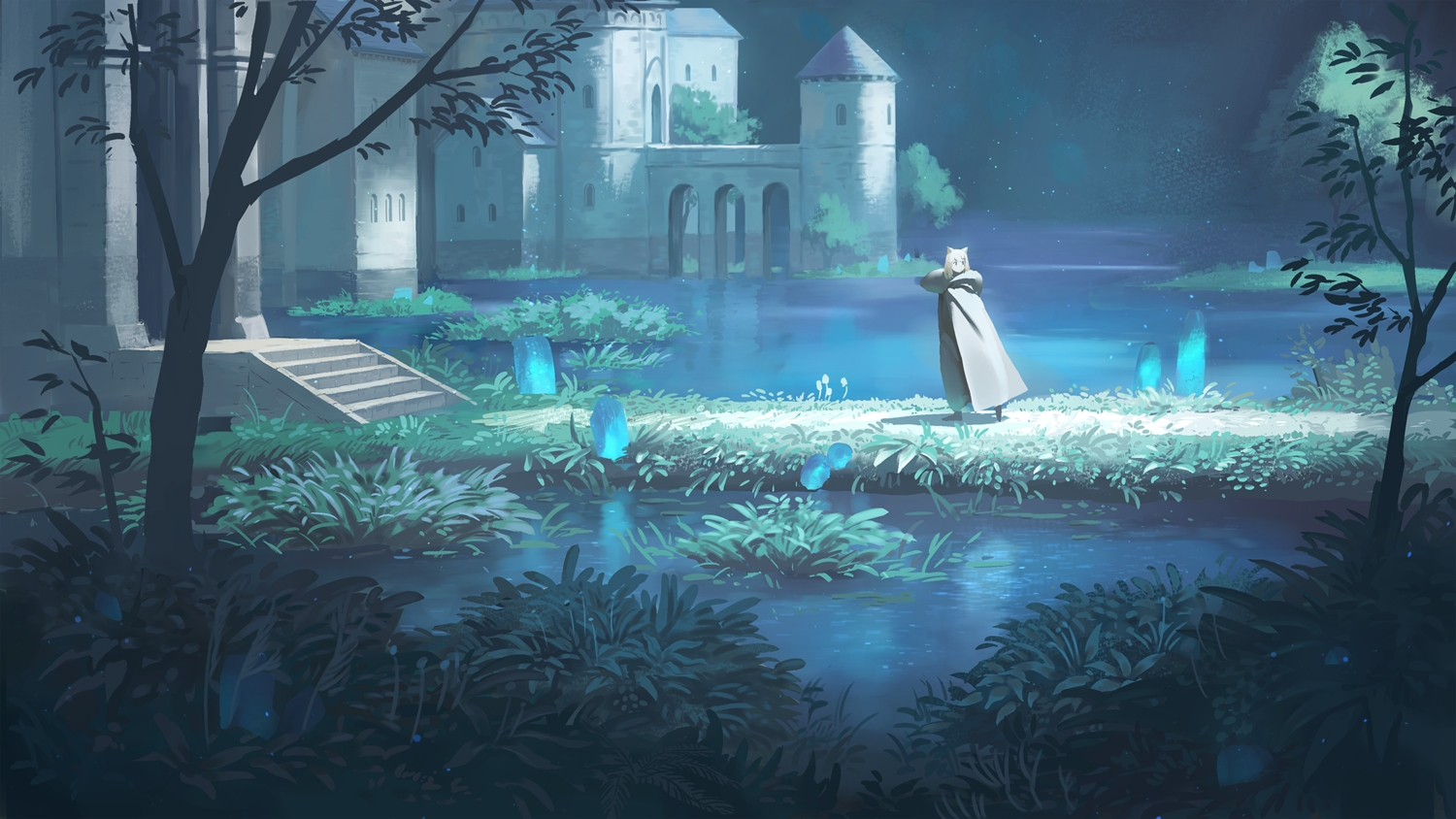 animal_ears blue building cape grass original scenic short_hair stairs tree wasabi60 water white_hair