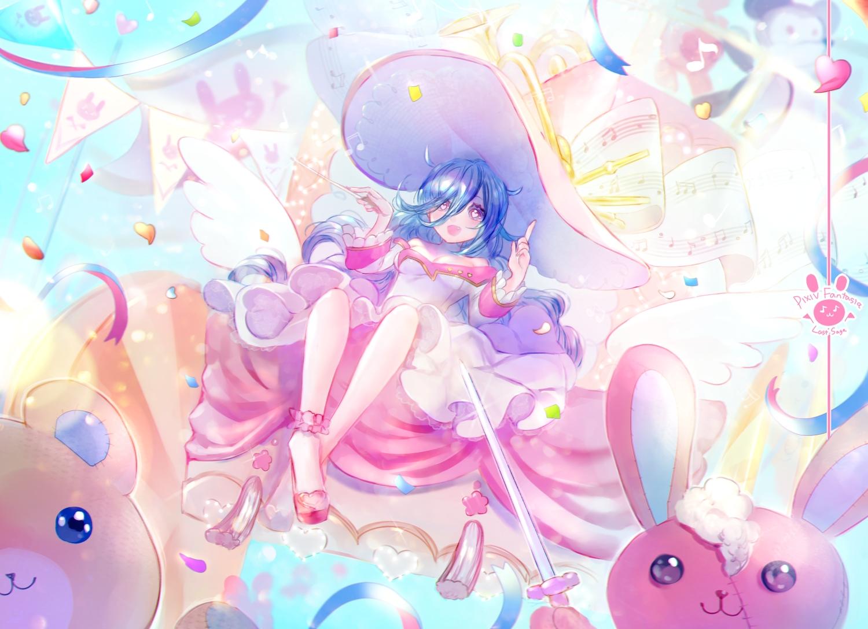 blue_hair bunny dress fang hat long_hair mimumiri music original pixiv_fantasia purple_eyes teddy_bear wand wings witch witch_hat