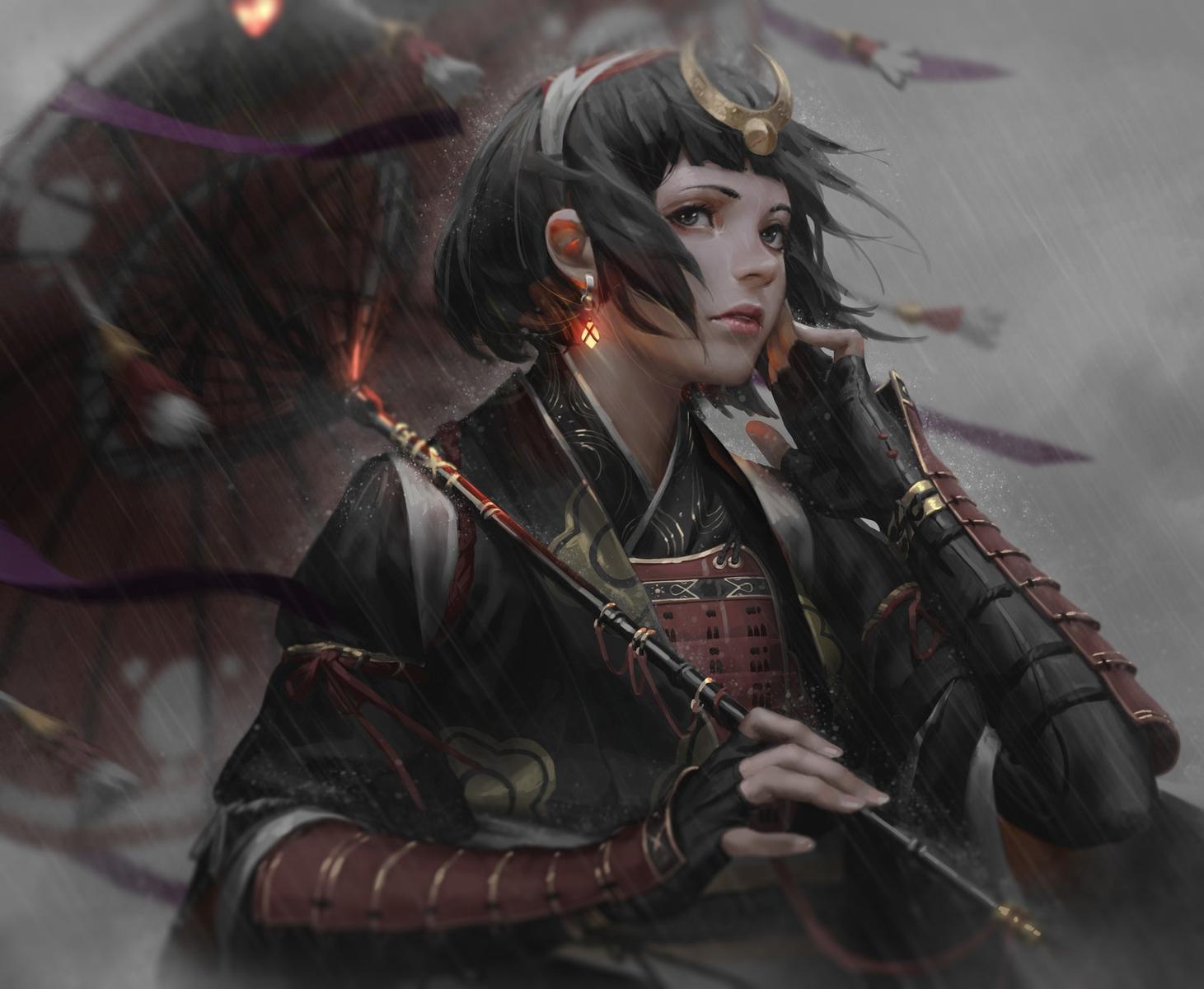armor black_eyes black_hair gloves guweiz headdress japanese_clothes jpeg_artifacts original rain realistic samurai short_hair umbrella water