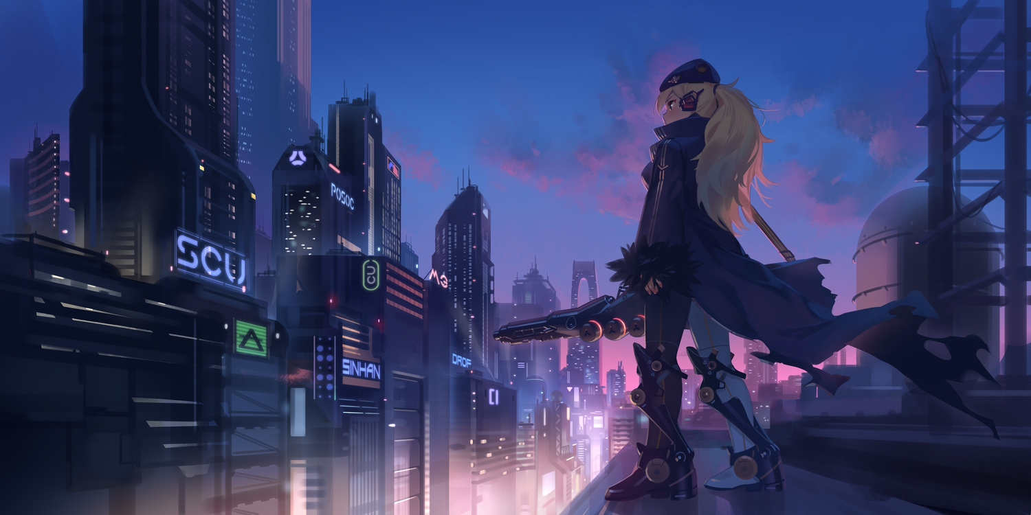 blonde_hair building city ddal long_hair night original ponytail scenic techgirl weapon