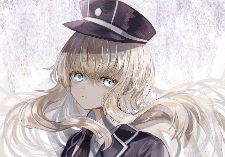 abandon_ranka all_male anthropomorphism aqua_eyes blonde_hair close hat long_hair male midare_toushirou military tie touken_ranbu trap