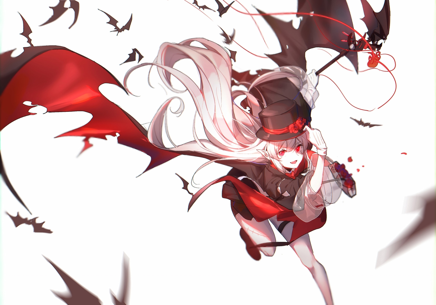 arknights fang gloves hat long_hair pointed_ears red_eyes vampire warfarin_(arknights) white white_hair wings yumuto
