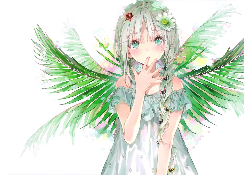 braids dress dsmile flowers gray_hair green_eyes original scan twintails white