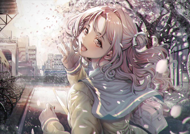 bicycle building cherry_blossoms flowers ichikawa_hinana idolmaster idolmaster_shiny_colors school_uniform takumoyuha tree