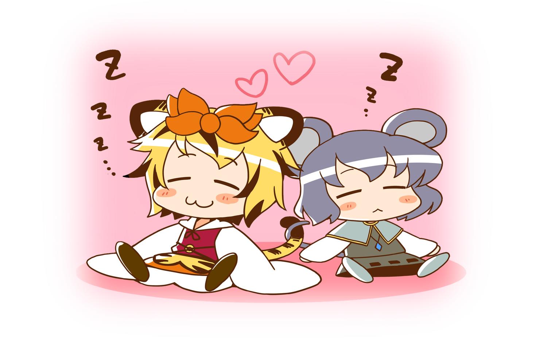 animal_ears azuharu catgirl chibi mousegirl nazrin sleeping tail toramaru_shou touhou