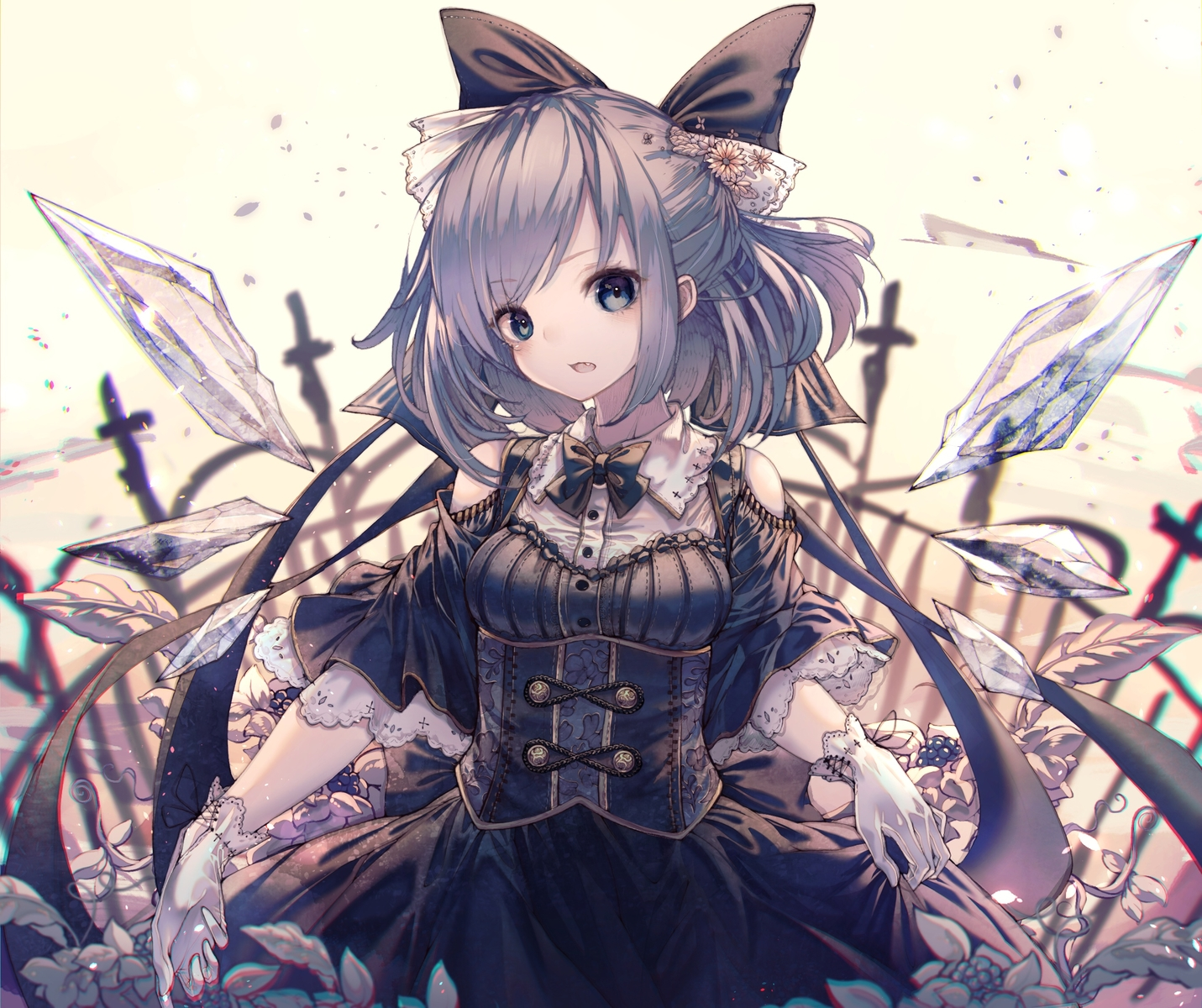 blue_eyes blue_hair bow cirno dress fairy fang gloves goth-loli hito_komoru lolita_fashion short_hair touhou wings
