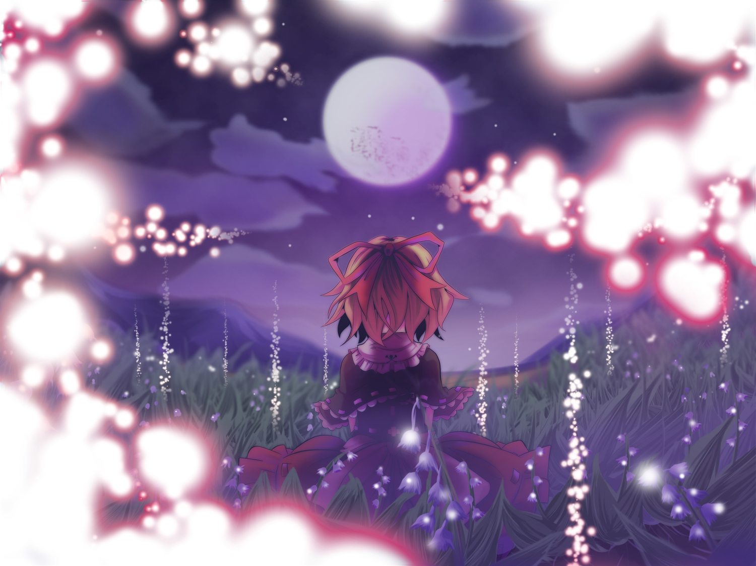 blonde_hair flowers medicine_melancholy mito_(calcomer) moon short_hair touhou