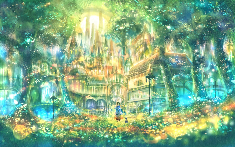 animal bou_nin building cat forest grass green original polychromatic scenic tree
