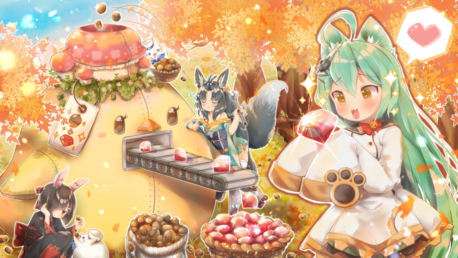 akashi_(azur_lane) animal animal_ears anthropomorphism autumn azur_lane black_hair bunny_ears cat catgirl foxgirl green_hair japanese_clothes kimono kuma_(pompon_tail) long_hair manjuu_(azur_lane) red_eyes shiranui_(azur_lane) short_hair swimsuit tail tree yellow_eyes yuubari_(azur_lane)