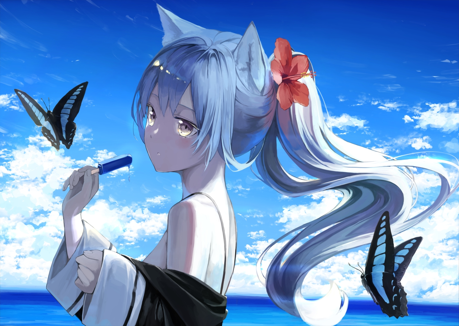 animal_ears blue_hair brown_eyes butterfly clouds long_hair mikisai original ponytail popsicle sky