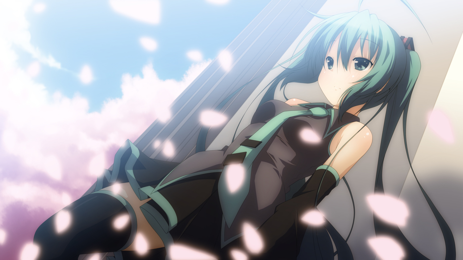 blush cherry_blossoms green_eyes green_hair hatsune_miku long_hair petals skirt sky thighhighs tie twintails vocaloid yuzuki_kei