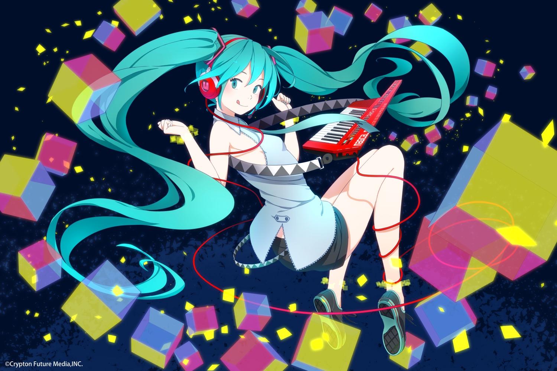 hatsune_miku headphones instrument kamogawa_(kamogawa_sodachi) piano vocaloid