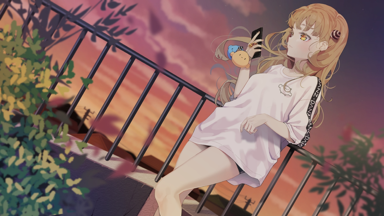 agnamore blonde_hair clouds leaves long_hair original phone shorts sky sunset waifu2x yellow_eyes