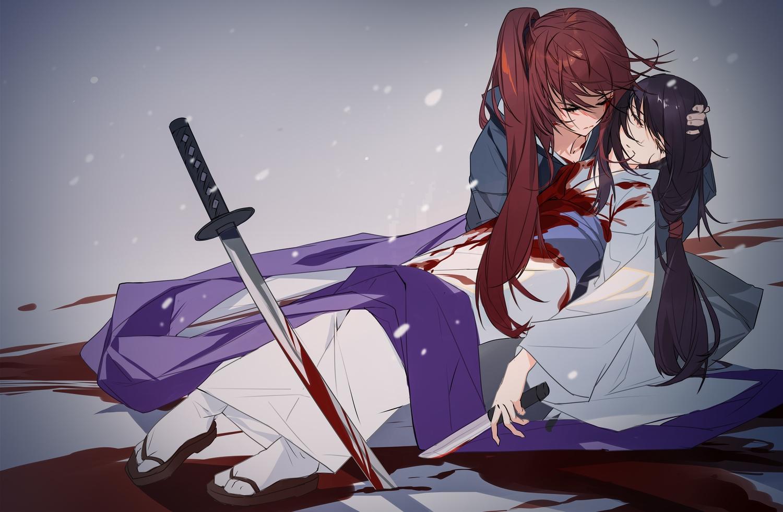 black_hair blood gradient grandialee himura_kenshin japanese_clothes katana kimono knife long_hair male ponytail red_hair rurouni_kenshin sword tears weapon yukishiro_tomoe