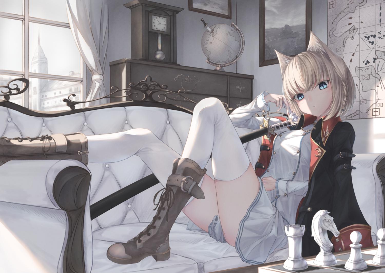 amane_utata animal_ears blonde_hair blue_eyes boots cape catgirl katana original short_hair sword thighhighs uniform weapon
