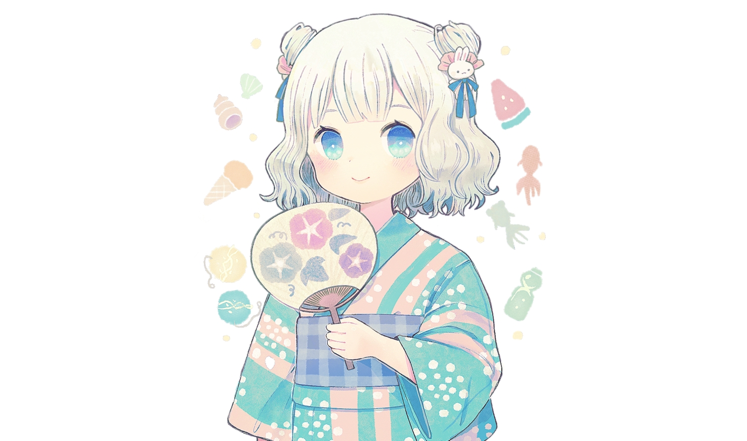 aqua_eyes ayu_(mog) blush brown_hair fan japanese_clothes loli original short_hair third-party_edit white yukata