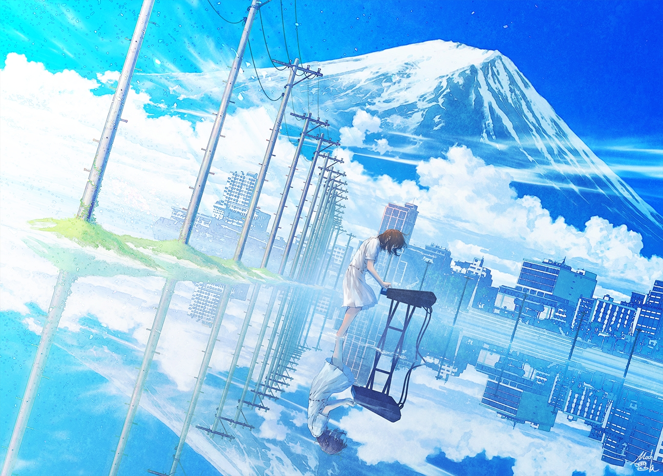 brown_hair building city clouds dress instrument mocha_(cotton) original piano reflection scenic short_hair signed sky water