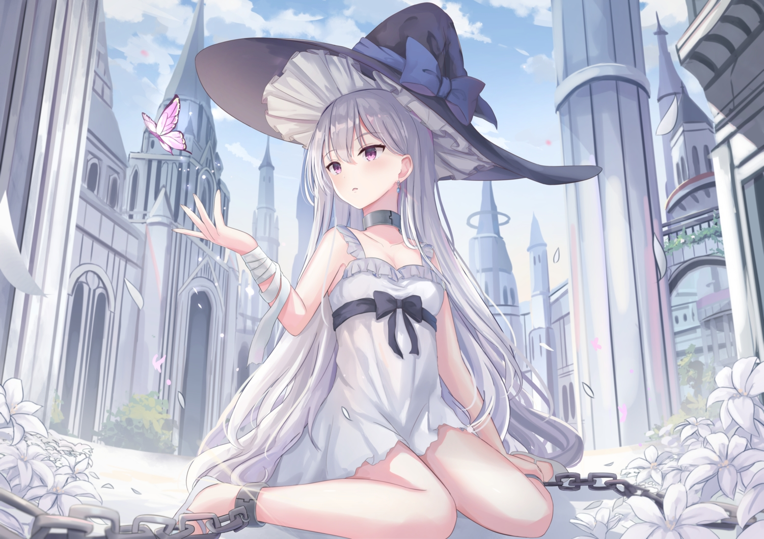 blush bondage bow building butterfly chain clouds dress flowers gray_hair hat long_hair original purple_eyes shackles sky summer_dress touhourh witch_hat