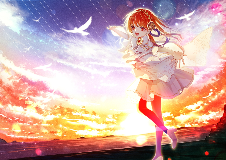 animal bird bow chano_hinano clouds orange_eyes orange_hair original pantyhose polychromatic sky sunset water