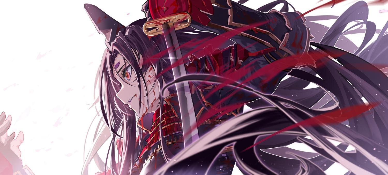 armor blood close fate/grand_order fate_(series) katana long_hair purple_hair samurai sword ushiwakamaru_(fate/grand_order) weapon yuan_long