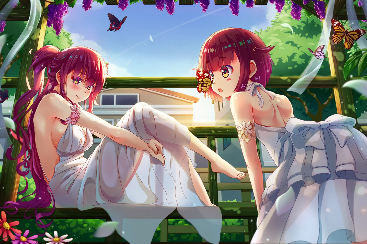 2girls blush bow breasts butterfly cleavage dress flowers food fruit long_hair no_bra original ponytail red_hair see_through short_hair sideboob yellow_eyes zongmao
