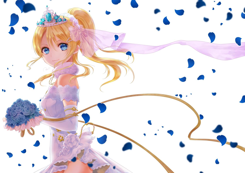 ayase_eri blonde_hair blue_eyes elbow_gloves gloves love_live!_school_idol_project petals ponytail tagme_(artist) wedding_attire white_hair