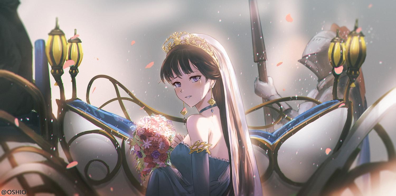 brown_hair choker dress flowers headdress long_hair original orlijiang petals purple_eyes tears tiara watermark