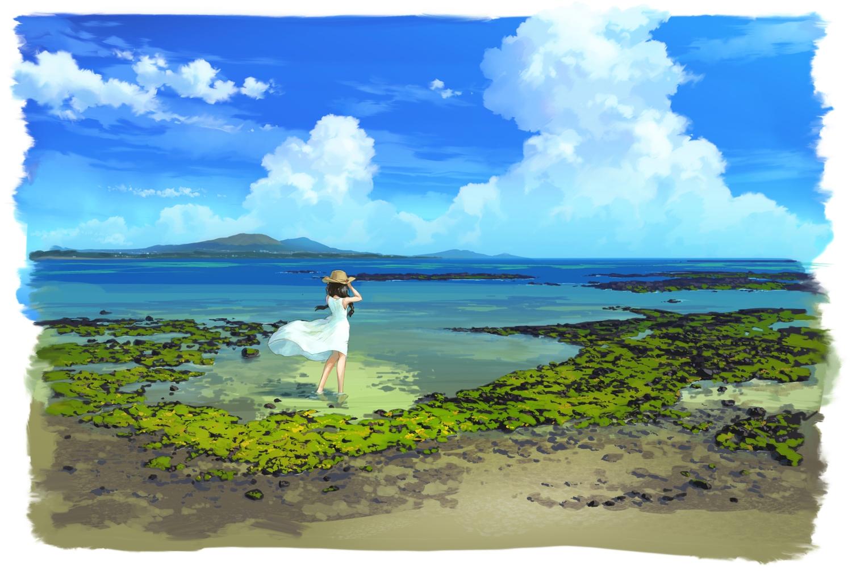 black_hair bozu_(ogiyama) braids clouds dress hat long_hair original scenic sky summer_dress twintails water
