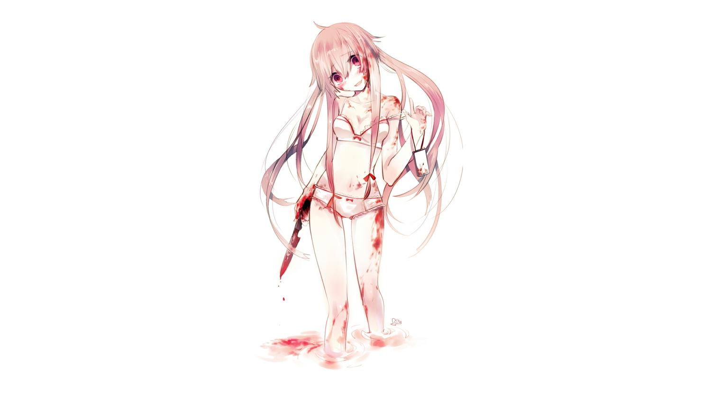 gasai_yuno knife long_hair mirai_nikki panties phone pink_eyes pink_hair shell_(artist) underwear weapon white