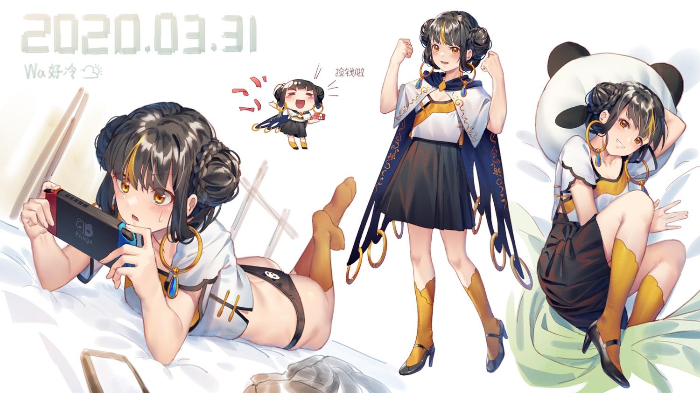 black_hair blush braids brown_eyes cape game_console ji_dao_ji kneehighs original panties short_hair skirt twintails underwear