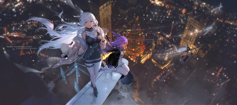 2girls aircraft anthropomorphism azur_lane blue_eyes building christmas city illustrious_(azur_lane) purple_hair snow swd3e2 unicorn_(azur_lane) watermark white_hair winter