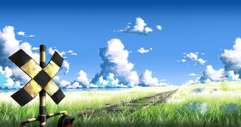 clouds grass jpeg_artifacts louders nobody original reflection scenic sky train water