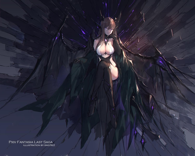breasts brown_hair cleavage gloves horns long_hair original pixiv_fantasia purple_eyes swd3e2 thighhighs watermark wings