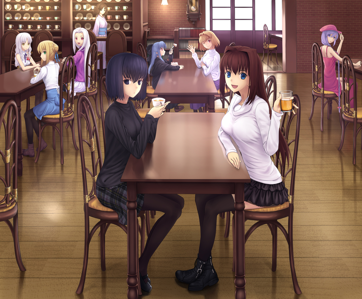 aozaki_aoko arcueid_brunestud cake caren_hortensia crossover drink fate/hollow_ataraxia fate_(series) fate/stay_night fate/zero food group irisviel_von_einzbern kara_no_kyoukai kuonji_alice len mahou_tsukai_no_yoru melty_blood ryougi_shiki saber shingetsutan_tsukihime sion_eltnam_atlasia tsukikanade