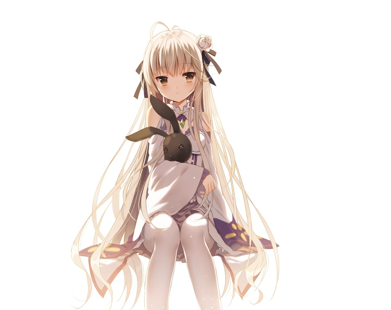 brown_eyes bunny cosplay flowers gray_hair jiji_(381134808) kasugano_sora long_hair re:zero_kara_hajimeru_isekai_seikatsu ribbons thighhighs white yosuga_no_sora
