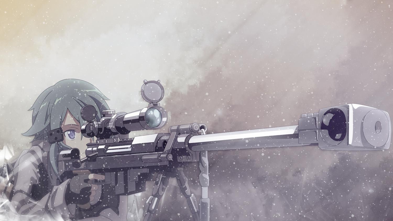 gun gun_gale_online shinon_(sao) sword_art_online tagme_(artist) weapon