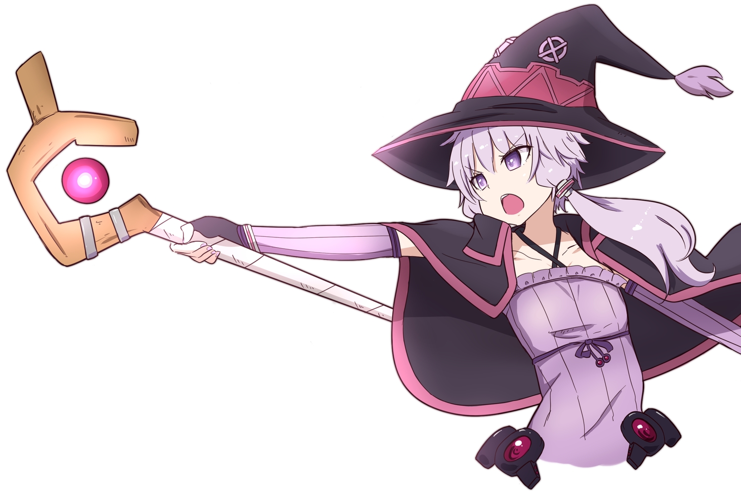 cape cosplay flat_chest gloves hat kakihitoshirazu kono_subarashii_sekai_ni_shukufuku_wo! long_hair mage purple_eyes purple_hair staff vocaloid voiceroid white witch_hat yuzuki_yukari