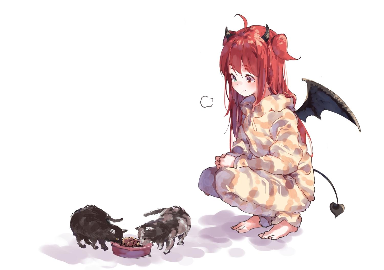 animal barefoot bicolored_eyes cat demon hoodie horns nijisanji pajamas ramu_(taka1995) tail white wings yuzuki_roa