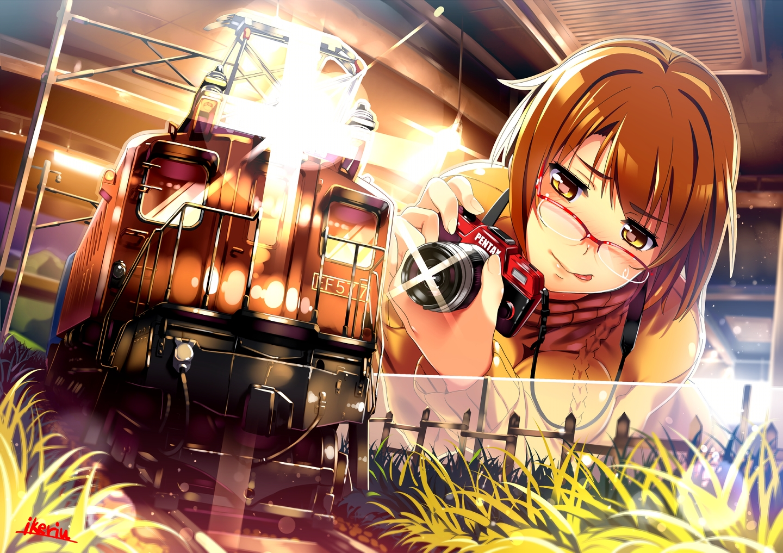 blush braids brown_hair camera glasses grass original shoken_narai short_hair signed train waifu2x yellow_eyes