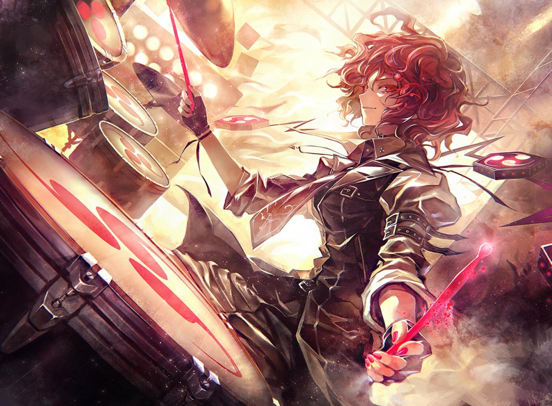 drums gloves horikawa_raiko instrument kozou_(soumuden) red_eyes red_hair short_hair tie touhou