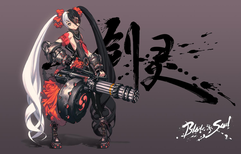 blade_&_soul eyepatch gray gun po_hwa_ran twintails weapon