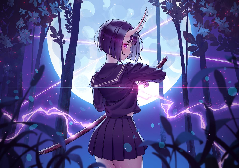 demon fate/grand_order fate_(series) forest horns katana magic moon purple_eyes purple_hair rhasta school_uniform short_hair shuten_douji_(fate) skirt sword tree weapon