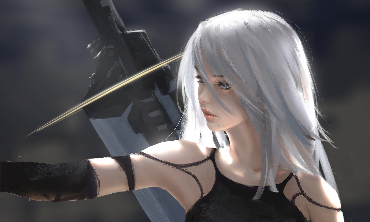 aqua_eyes long_hair nier nier:_automata sword weapon white_hair wlop yorha_unit_no._2_type_a
