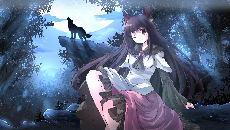 animal animal_ears forest imaizumi_kagerou moon night risutaru touhou tree wolf wolfgirl