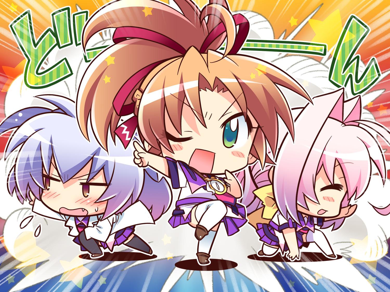 77 brown_hair chibi game_cg green_eyes hoshiba_sora long_hair pink_hair purple_hair school_uniform tsuneha_aki tsuneha_miki whirlpool